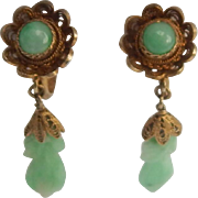Petite Carved Jade & Vermeil Silver Earrings
