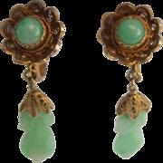 Petite Carved Jade & Vermeil Silver Earrings