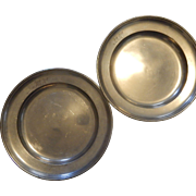1815 German Pewter Plates Pair Wurzburg