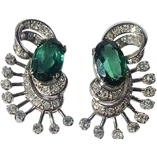 Art Deco Platinum, Diamond, Tourmaline Earrings