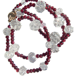 Asian Garnet & Crystal Necklace