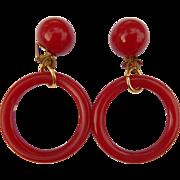 Red Bakelite Buton Hoop Earrings