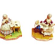 Early Miniature Porcelain Figurine Pair of Women