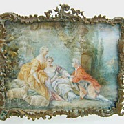 Magnificent Fragonard type Miniature of Romantic 18th c. Scene