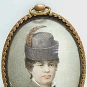 Hungarian Miniature on Paper - Woman with Feather in Hat