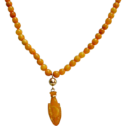 Antique Baltic Amber Necklace with Amber Carved Whale Pendant