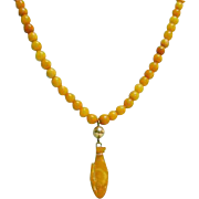 Antique Amber Bead Necklace with Hand Carved Amber Whale Pendant