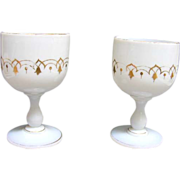 19th c. Opaline Gilded Goblet Pair