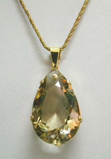 HUGE Vintage Yellow Smokey Topaz Teardrop Pendant 14K Necklace