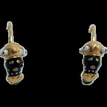 Stunning, Rare 19th c. Blackamoor Gold Enamel Earrings