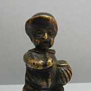 Miniature Antique Bronze Little Man Figure - Unusual