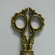 c. 1890 Ornate German Brass Library Scissors in Sheath