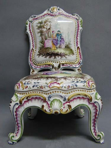 Rare 18th c. Figural Capodimonte Chair