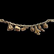 Unusual Vintage Charm Bracelet - 9Kt Bracelet with 14K Gold Charms