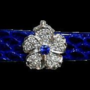Vintage Diamond Sapphire Hinged Flower Slide 3-Strand Pearl Necklace