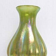 Stunning Art Nouveau Loetz Silberiris Green Ribbed Melon Glass Vase
