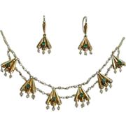 Exquisite Antique Gold, Emerald, Seed Pearl Festoon Necklace/Earrings Parure
