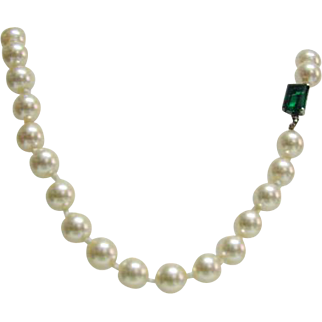 Vintage Large Faux Pearl Costume Necklace with Green Stone Clasp