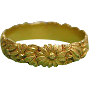 22kt Gold Exquisite Hand Carved Antique Floral Wedding Band Ring