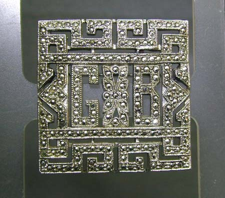 Art Deco/Retro Marcasite Silver Pin - GB Monogram