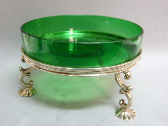 Antique Victorian Goldsmiths Silver Footed Green Glass Bonbon on