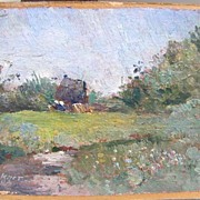 Small Impressionist Oil Painting - Landscape by R. Hockner, 1902