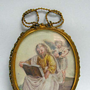Miniature Early 18th c. (or earlier) Holy Man and Angel Watercolor in Frame