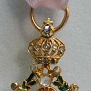 Miniature 18K Gold, Diamond, 19th c. Enamel Order of Leopold Medal