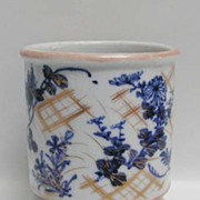 19th c. Japanese Blue White Signed Brush Pot or Jardiniere