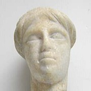 Ancient Greek or Roman Marble Sculpture of Head on Wood Base