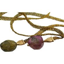 Vintage Hand Woven Silky Mesh Woven 18K Gold Tie Necklace with Tourmaline Stones
