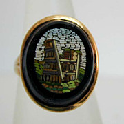 Antique 14K Gold Micromosaic Scene Ring