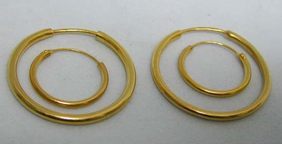'Mommy and Me' Matching 14K Gold Vintage Gypsy Earrings