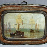 Rare 17th c. Miniature Marine Oil Painting in Bronze & Velvet Frame