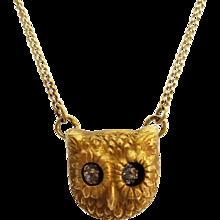 Fabulous Antique 14K Gold and Diamond Eyes Owl Necklace - Moving Eyes