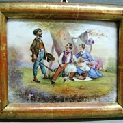 18th c. French Porcelain Painted Scene in Lemon Gilt Wood Frame