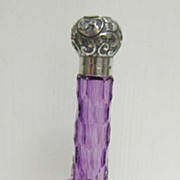 Silver Topped Amethyst Glass Perfume Bottle