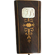 Antique 19th c. Mother of Pearl Inlaid Wood Sewing Etui