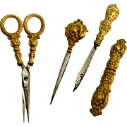 Stunning 4-piece 19th c. Gilded Silver Sewing Tool Set