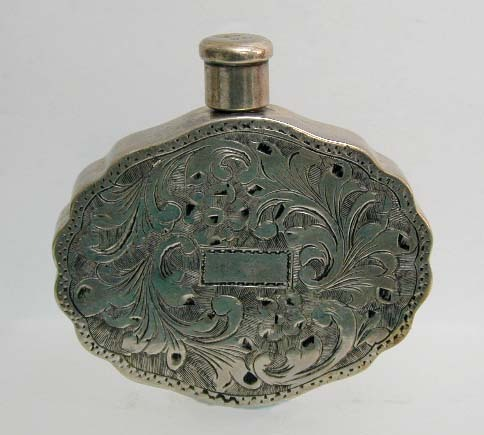 Exquisite 19th c. Austro-Hungarian Engraved Silver Perfume Bottle