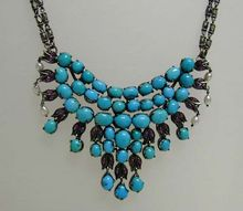 Rare Antique Turquoise Ruby Pearl Silver Indian or Persian Necklace