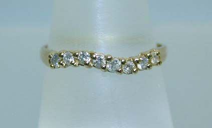 Lovely 14K 8-Diamond Wavy Band Ring