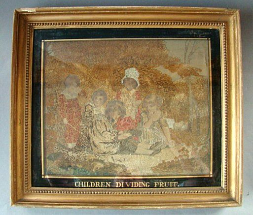 "Antique Georgian Period Framed Tapestry Embroidery On Silk ""Children Dividing Fruit"" dated 1801"