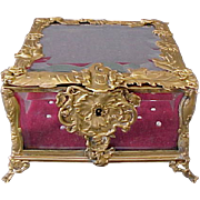 Antique French Dore Bronze & Beveled Glass Jewellery Box with Cherubs