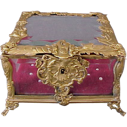 Antique French Dore Bronze & Beveled Glass Jewellery Box