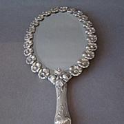 Portuguese Repousse Silver Hand Mirror, Oporto Mark