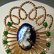 Antique French 14KT Yellow Gold & Enamel Portrait Brooch