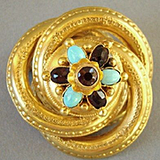 Victorian 14k Gold Brooch with Garnets and Persian Turquoise  Cabochons