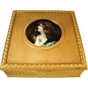 Antique Bronze Dore Limoges Enamel Miniature Portrait Jewellery Box