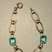 Art Deco Vermeil Sterling Silver Chrysoprase Link Bracelet
